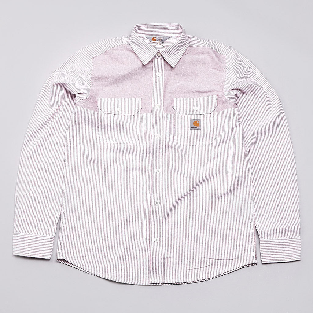 Carhartt Morris Long Sleeve Shirt Vice Stripe / Cranberry
