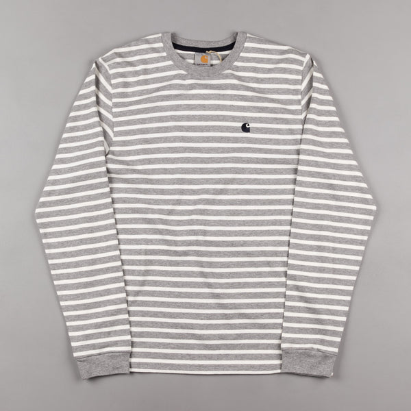 Carhartt Robie Long Sleeve T-Shirt - Grey Heather / Snow / Navy