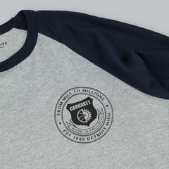 Carhartt Seal Long Sleeve T-Shirt - Grey Heather / Navy