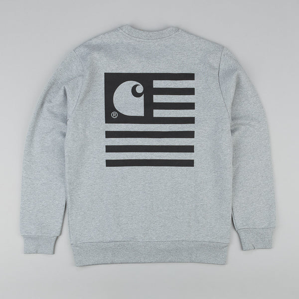 Carhartt State Flag Crew Neck Sweatshirt - Grey Heather / Black