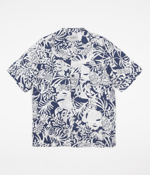Carhartt Tiki Mono Short Sleeve Shirt - Blue / Wax