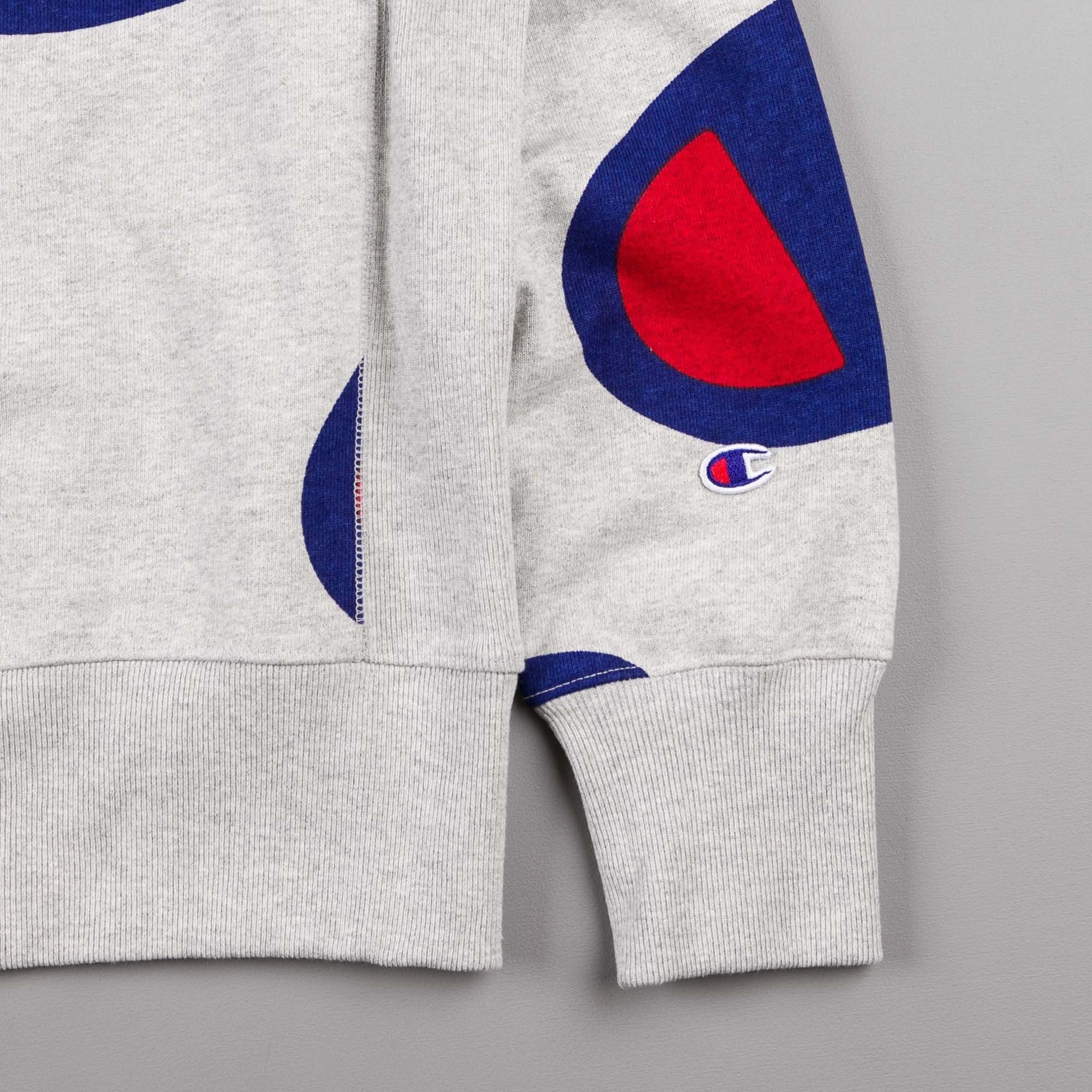 Champion All Over Oversized Logo Crewneck Sweatshirt - Grey