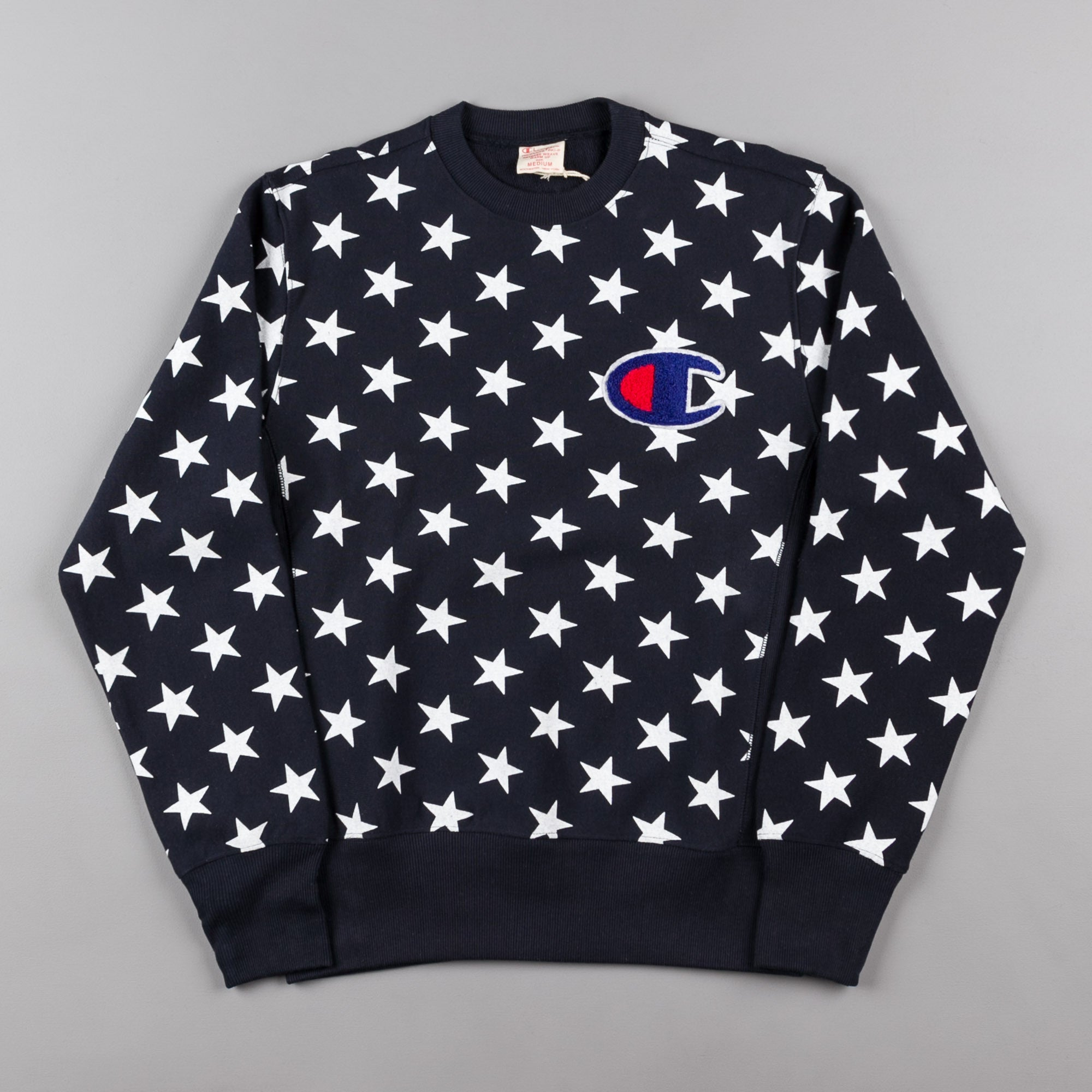 Champion All Over Print Crewneck Sweatshirt - Navy