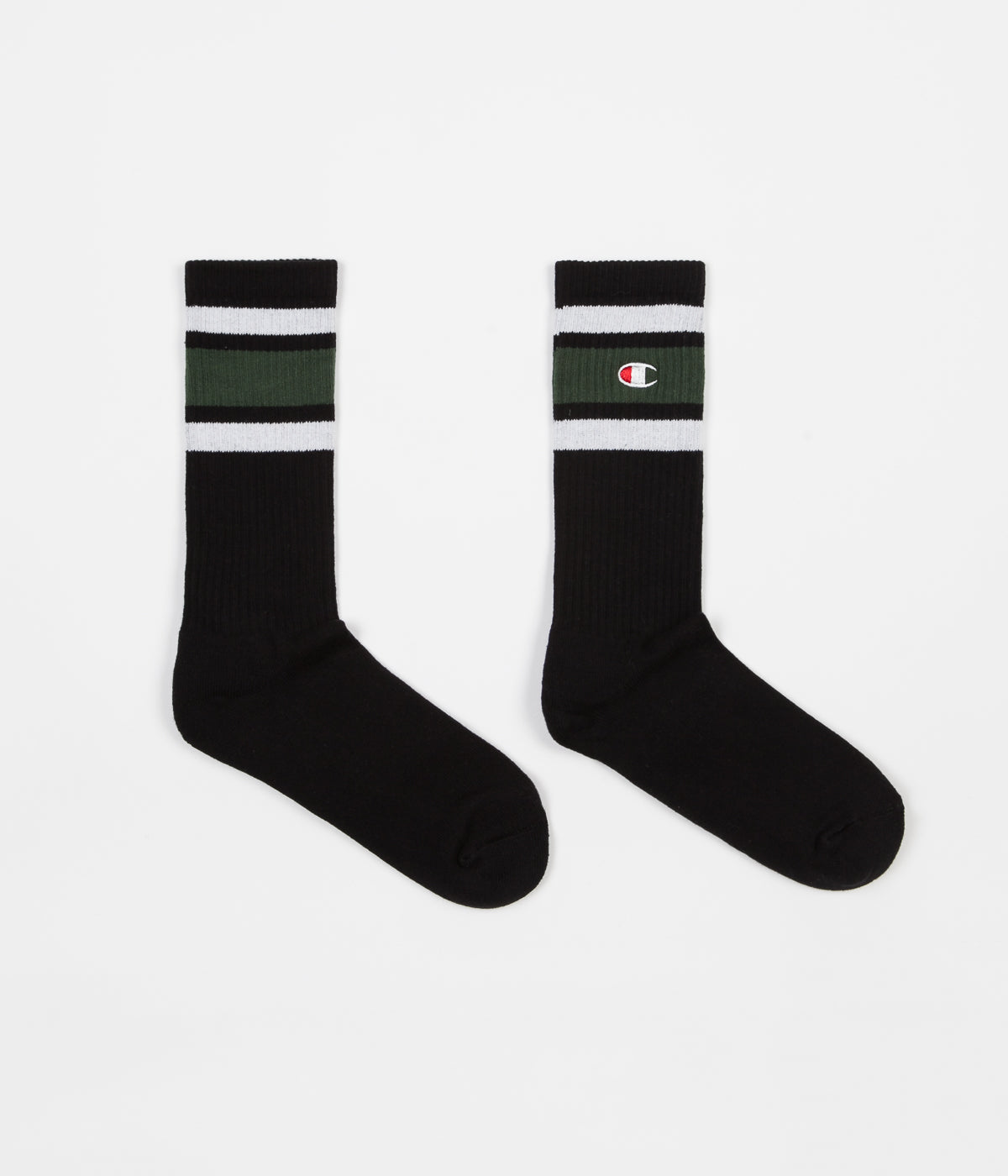Champion Crew Socks - Black / Green / White