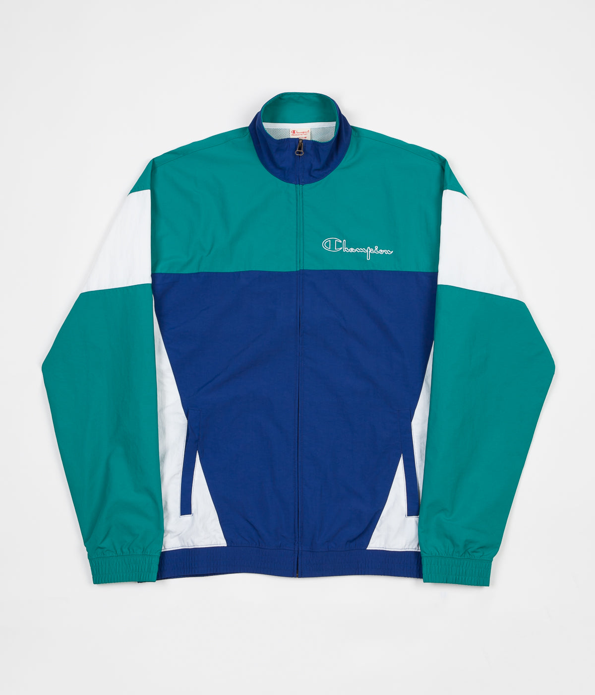 Champion Full Zip Tracksuit Jacket - Blue / Green / White