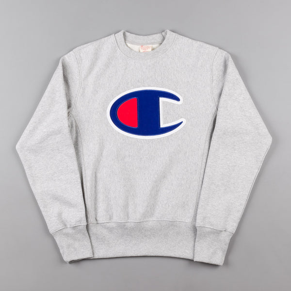 Champion Large C Applique Reverse Weave Crew Neck Sweatshirt - Grey