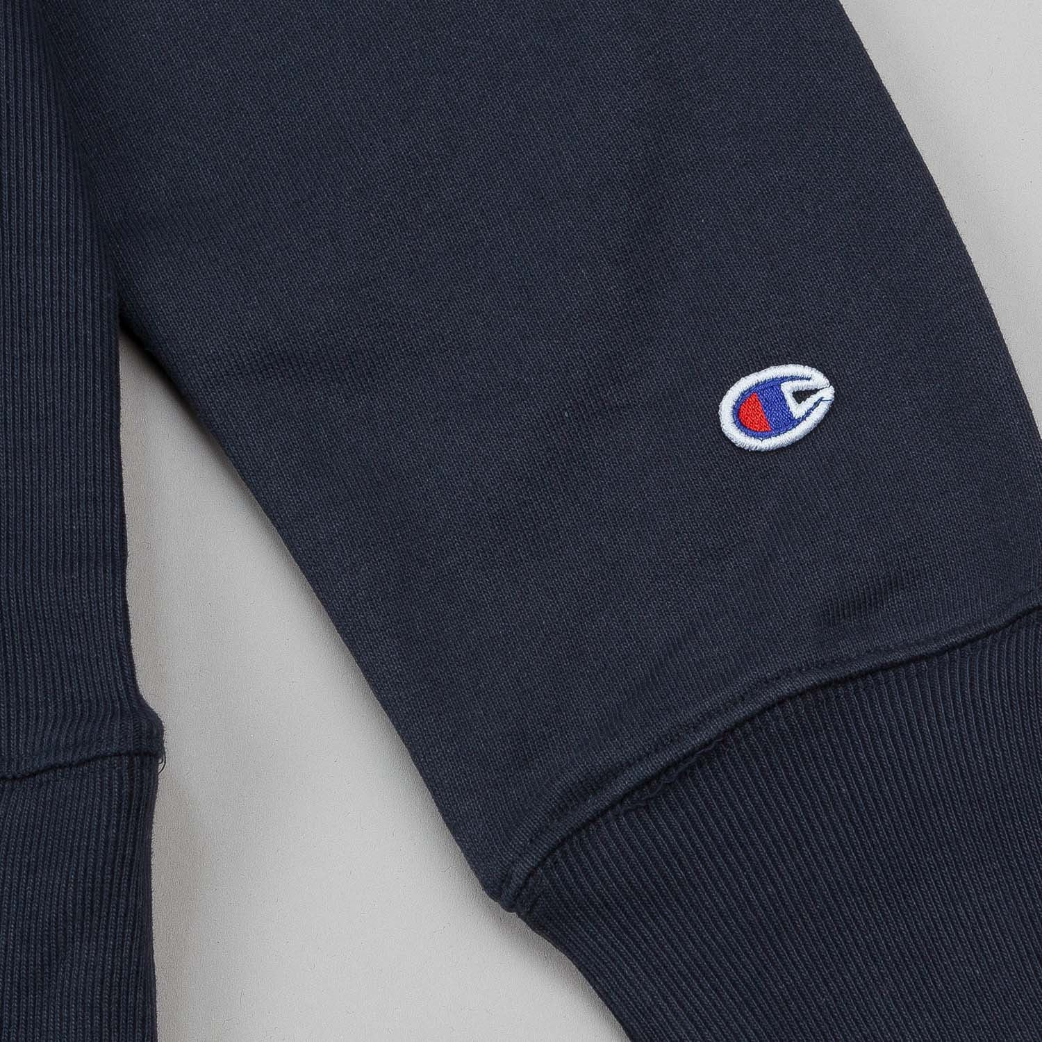 Champion Large C Applique Reverse Weave Crew Neck Sweatshirt - Navy