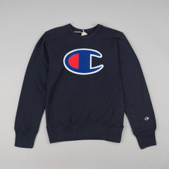 Champion Large C Applique Reverse Weave Crew Neck Sweatshirt