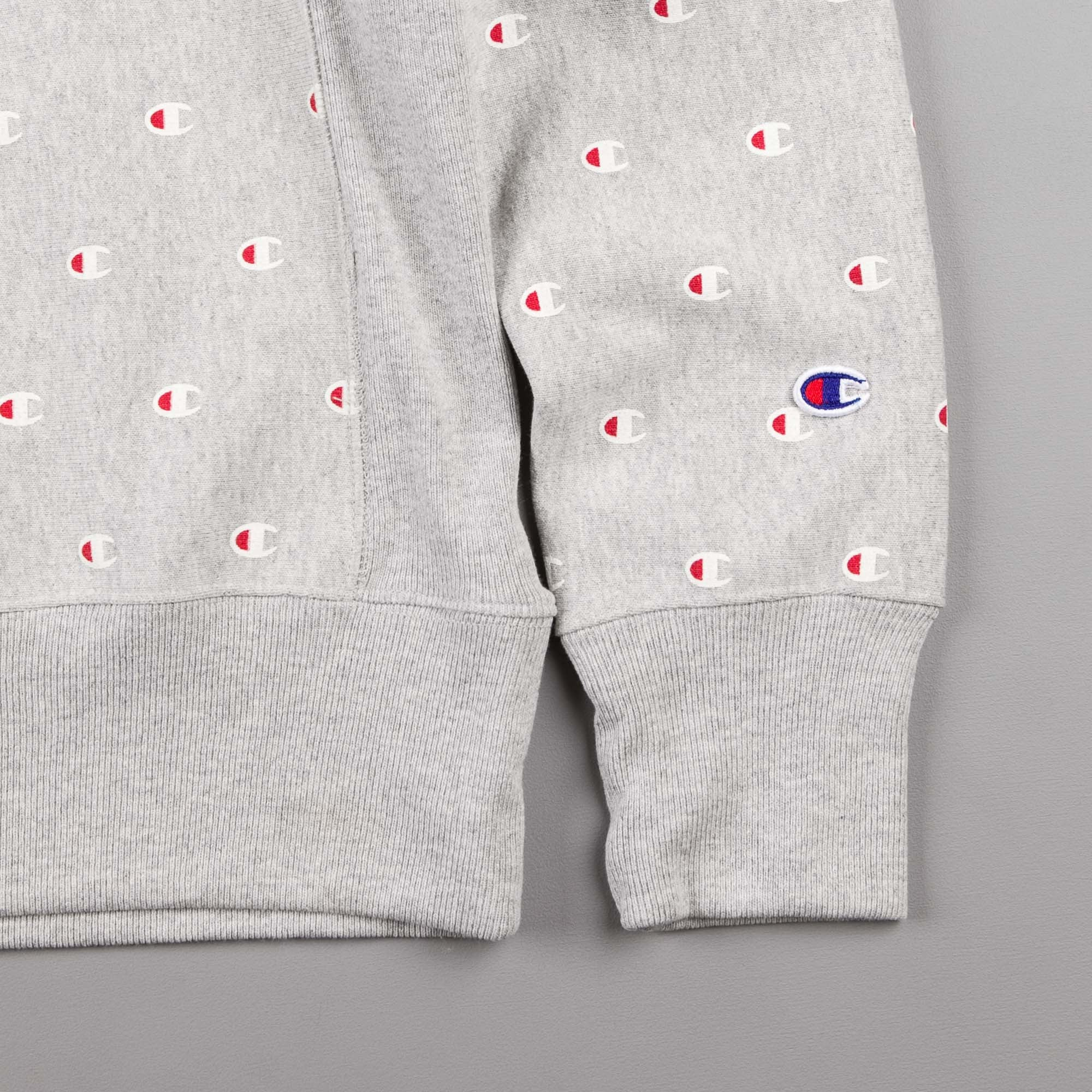 Champion Multi Print Reverse Weave Crew Neck Sweatshirt - Grey