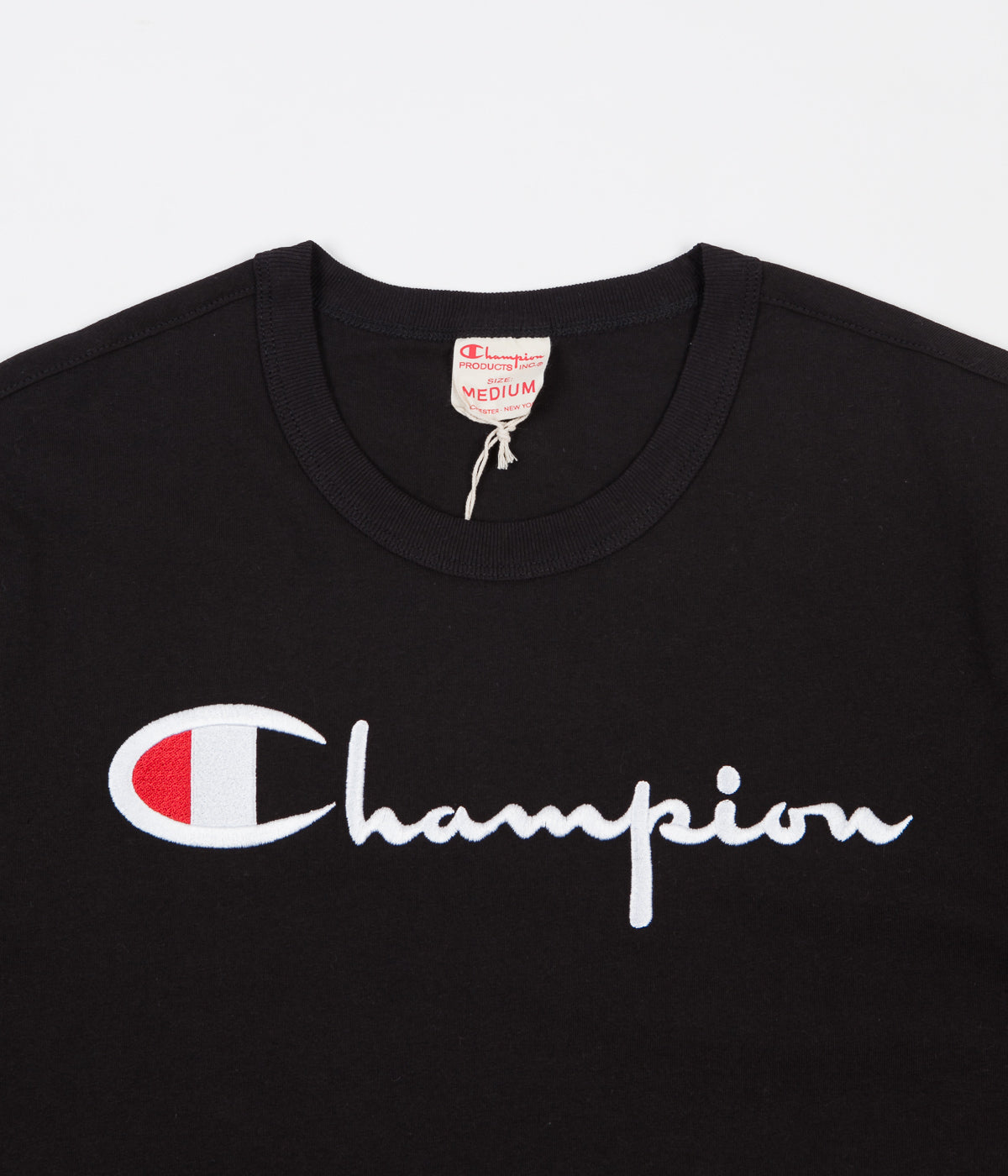 I Build Champions T Shirt: Champion Reverse Weave Embroidered Script Logo T-Shirt