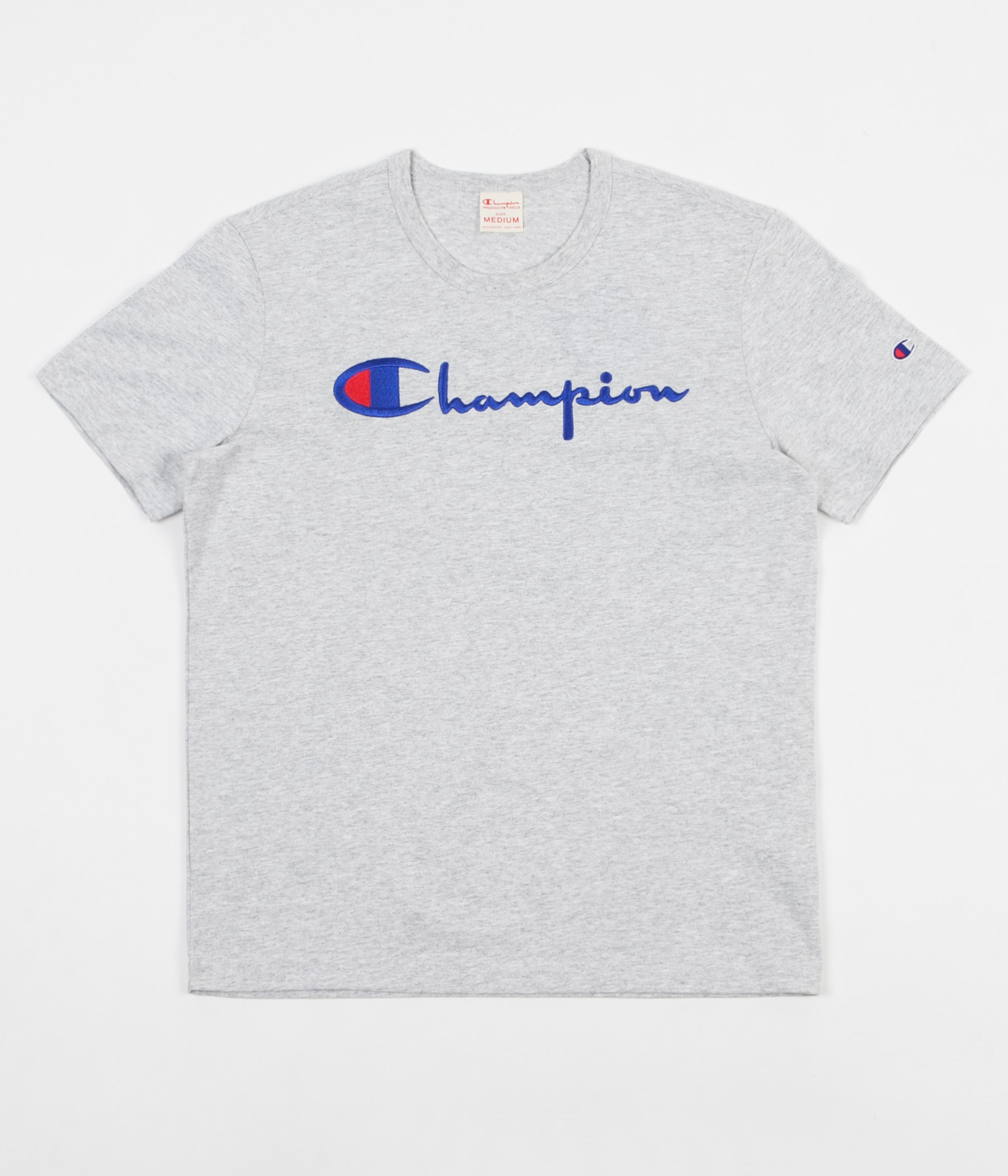0f2763dbc228a Champion Reverse Weave Embroidered Script Logo T-Shirt - Grey Marl ...
