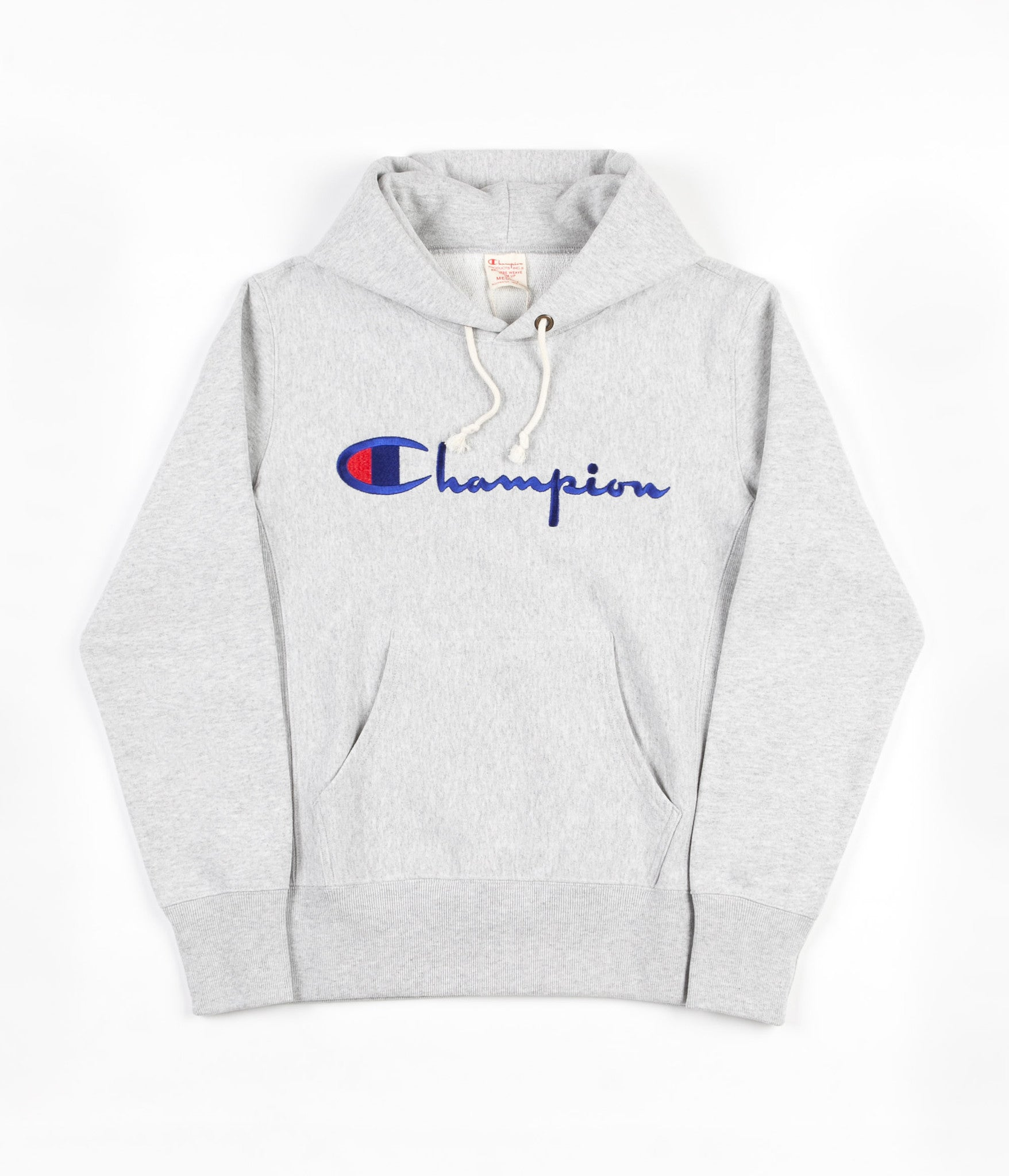 63b7d6513b61 Champion Reverse Weave Script Logo Hooded Sweatshirt - Grey
