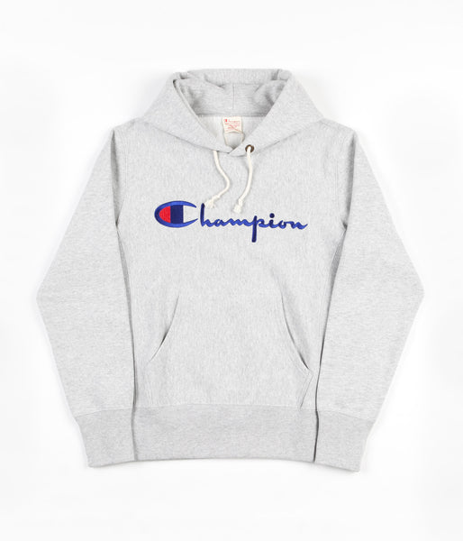 Champion Reverse Weave Script Logo Hooded Sweatshirt - Grey