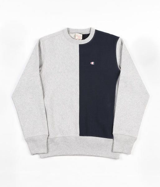 Champion Reverse Weave Split Crewneck Sweatshirt - Grey / Navy
