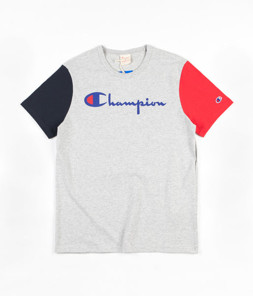 Champion Reverse Weave Tricolour Script Logo T-Shirt - Grey / Navy / Red