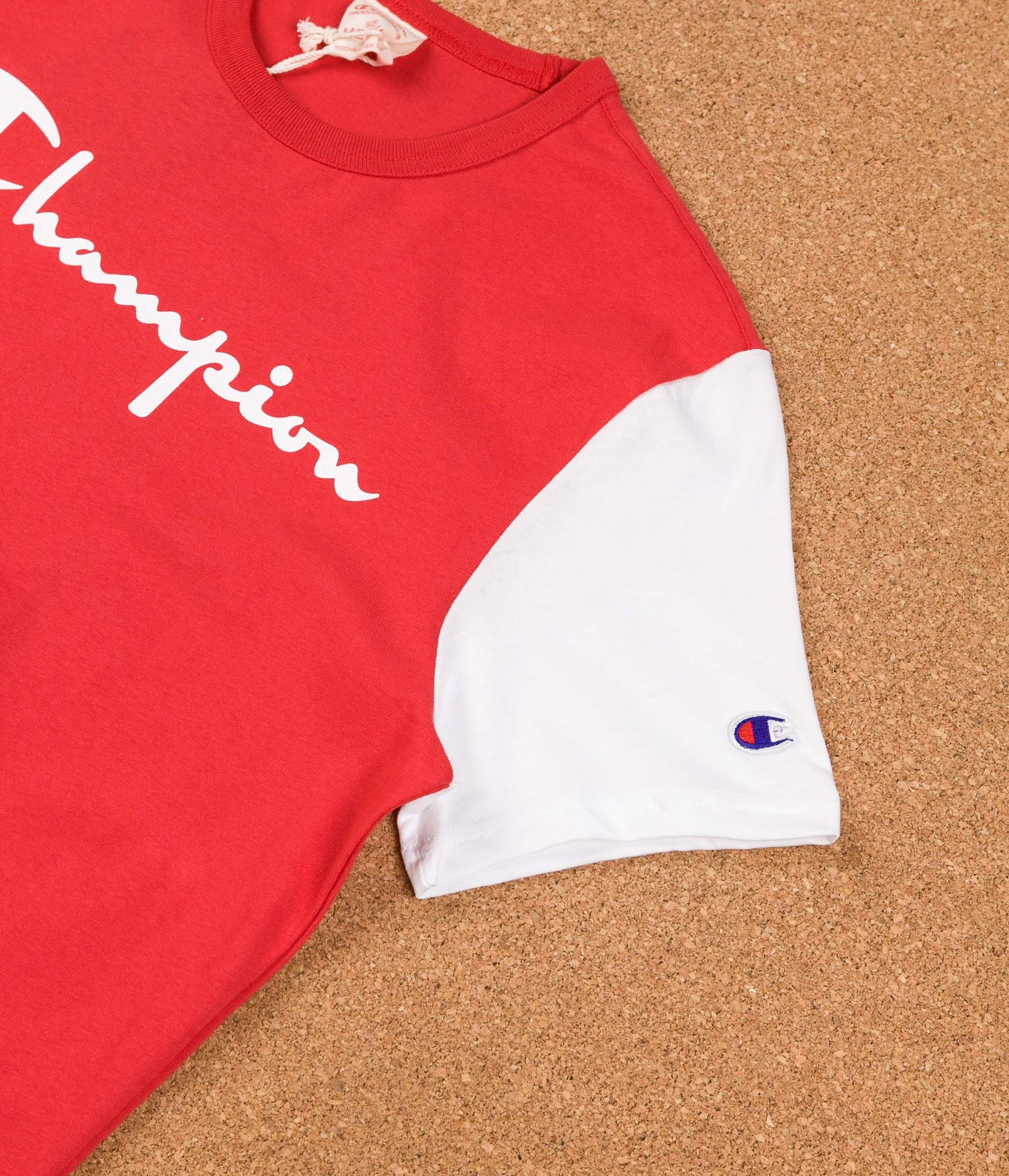 Champion Reverse Weave Tricolour Script Logo T-Shirt - Red / Navy / White
