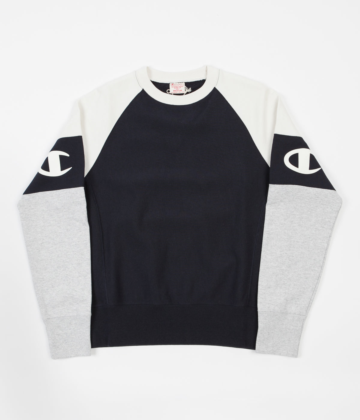 Champion Reverse Weave Two Tone Crewneck Sweatshirt - Navy / Cream