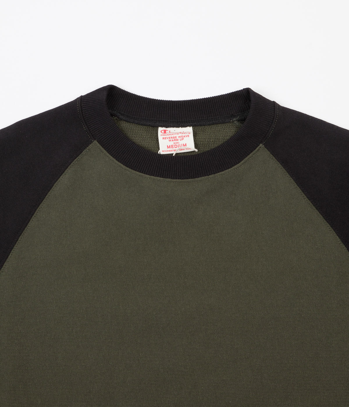 Champion Reverse Weave Two Tone Crewneck Sweatshirt - Olive Green / Navy