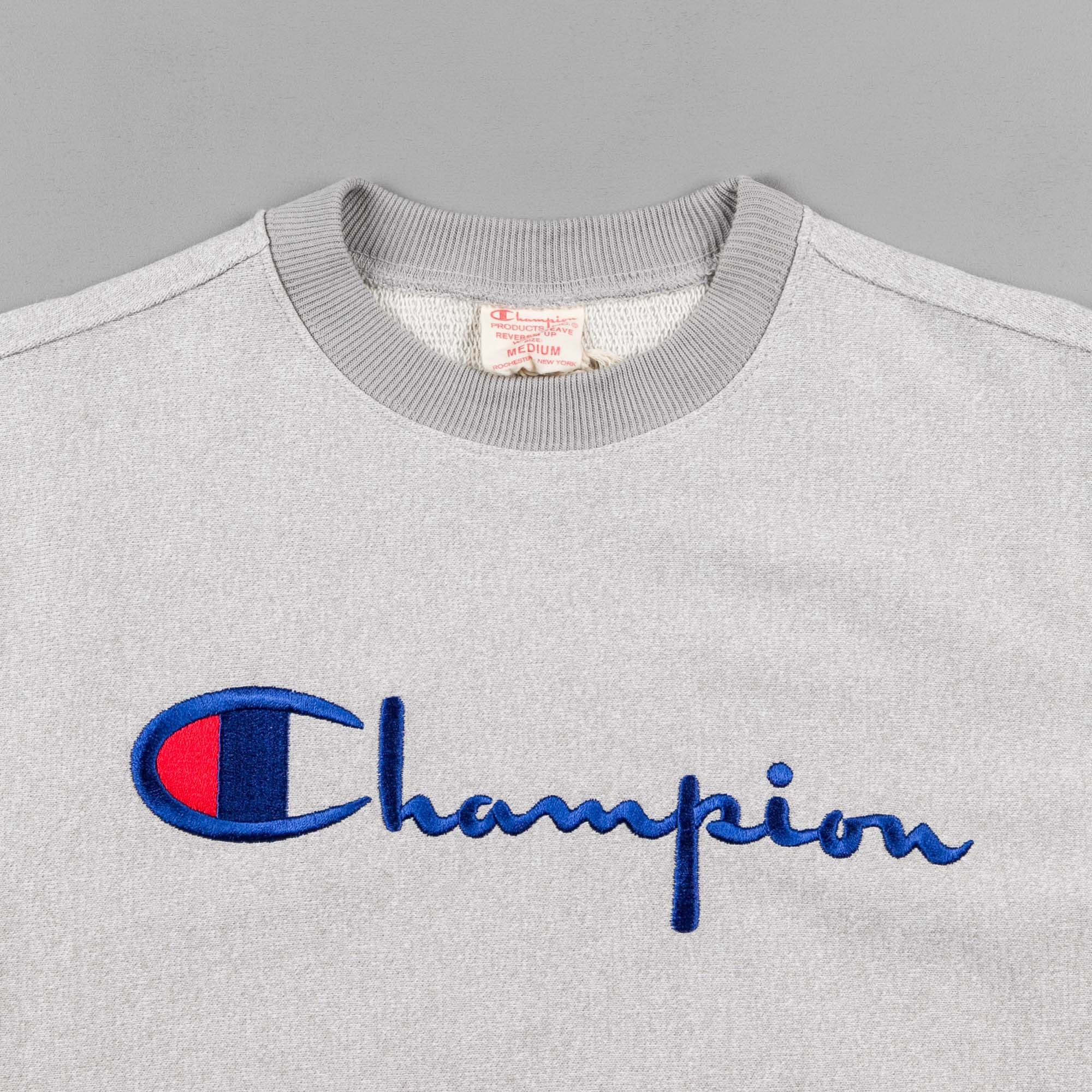 Champion Script Logo Crewneck Sweatshirt - Heather Grey