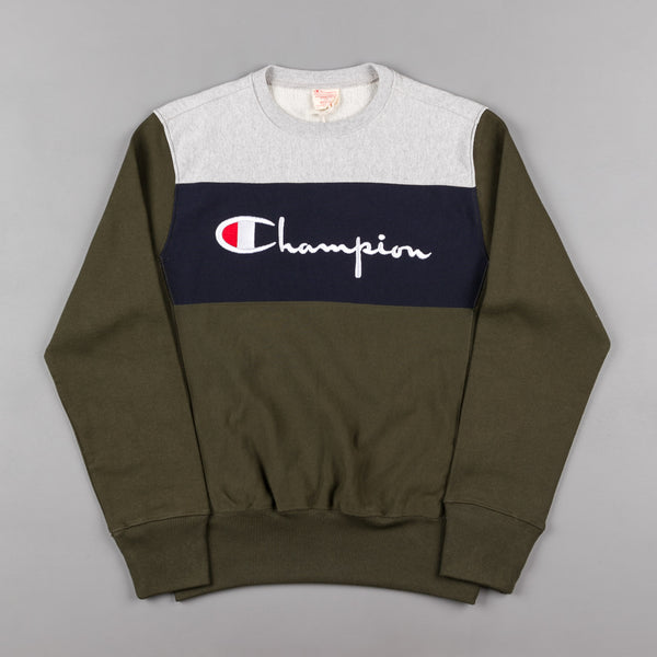 Champion Script Logo Crewneck Sweatshirt - Heather Grey / Navy / Green