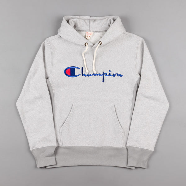 Champion Script Logo Hooded Sweatshirt - Heather Grey