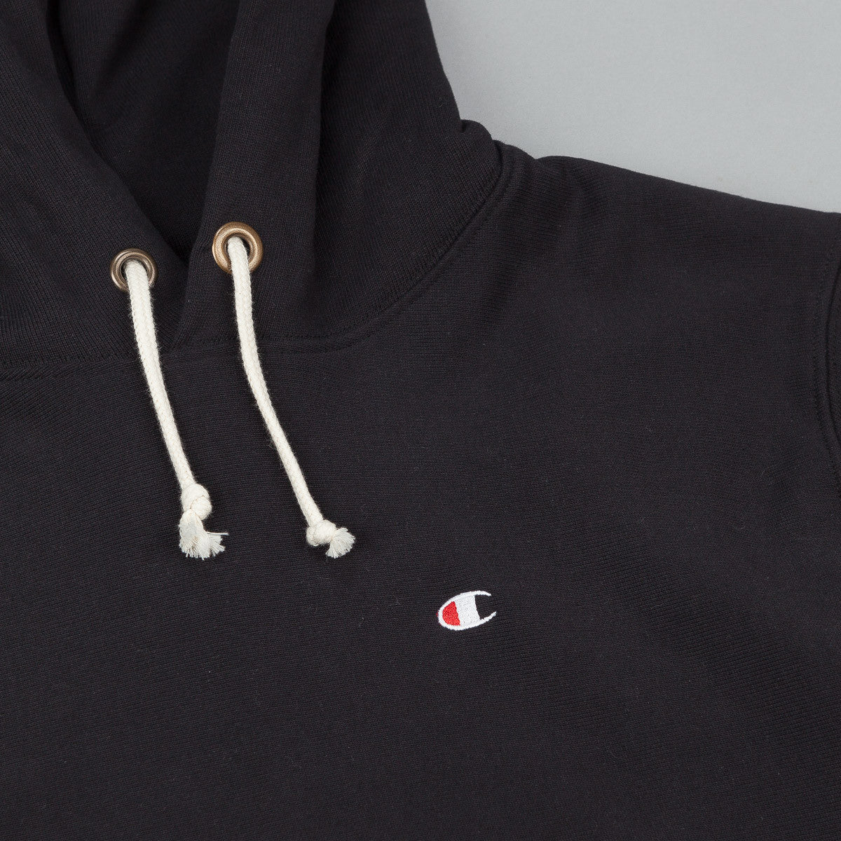 Champion Small C Reverse Weave Hooded Sweatshirt - Black