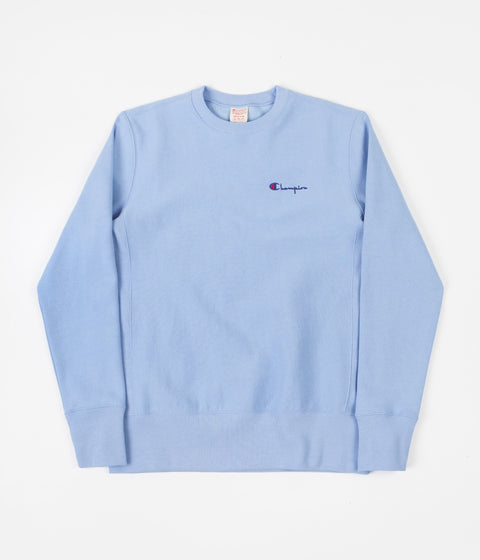 Champion Small Script Reverse Weave Crewneck Sweatshirt - Blue