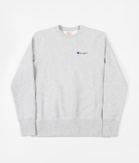 Champion Small Script Reverse Weave Crewneck Sweatshirt - Grey