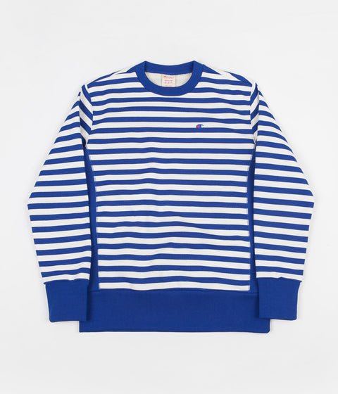Champion Striped Crewneck Sweatshirt - Blue / White