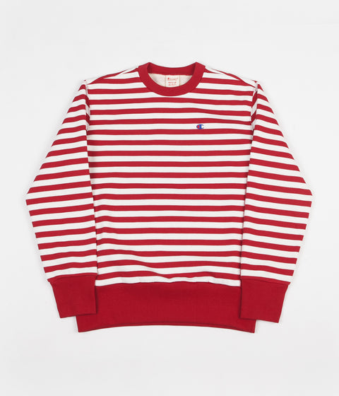 Champion Striped Crewneck Sweatshirt - Red / White