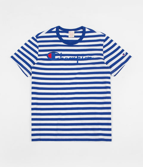 Champion Striped Script Logo T-Shirt - Blue / White