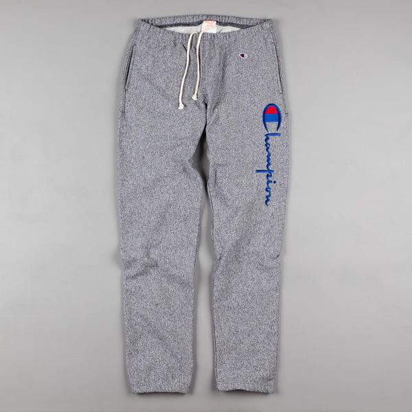 Champion Script Logo Sweatpants - Heather Grey / Blue