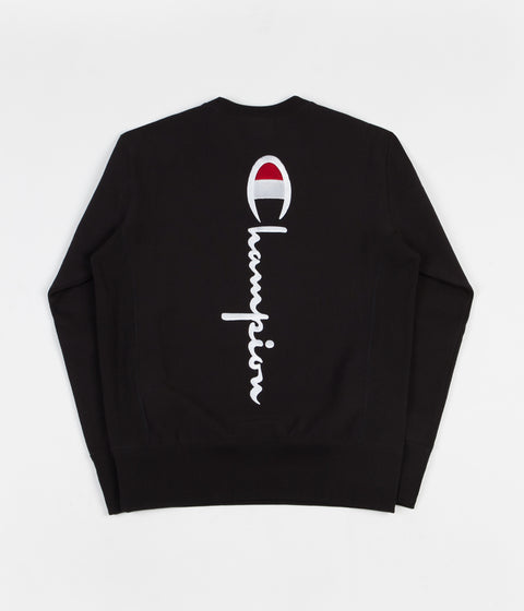 Champion Vertical Script Crewneck Sweatshirt - Black