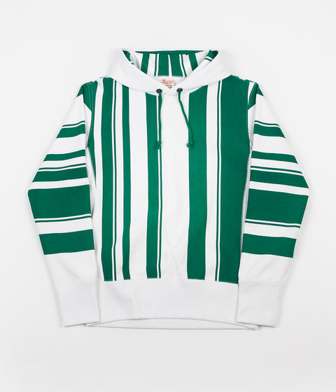 Champion Vertical Stripe Hoodie - White / Green