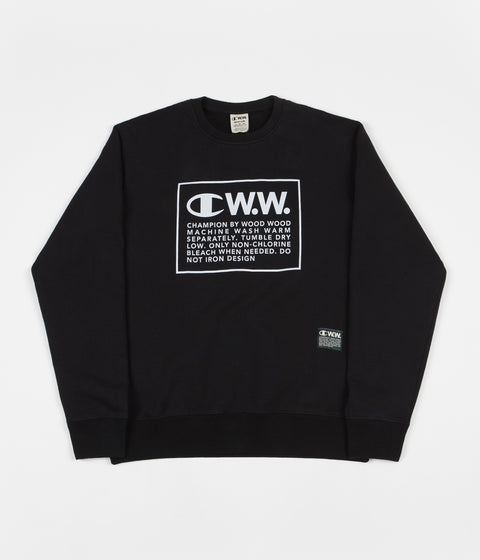 Champion x Wood Wood Mike Box Logo Crewneck Sweatshirt - Black / White