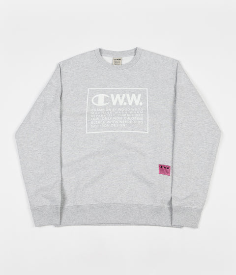 Champion x Wood Wood Mike Box Logo Crewneck Sweatshirt - Grey / White