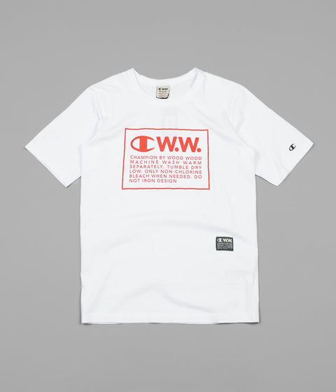 Champion x Wood Wood Rick Box Logo T-Shirt - White / Red