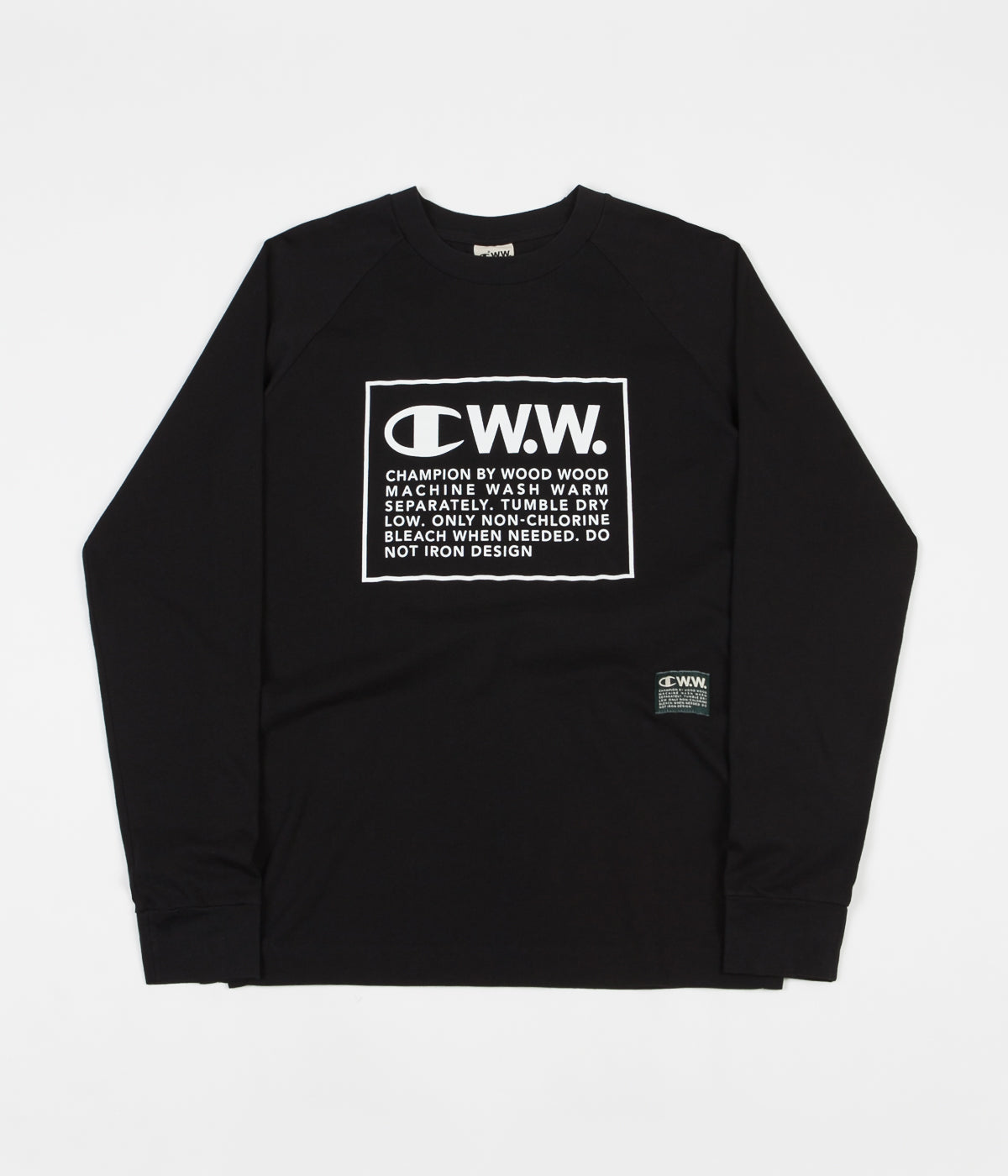 Champion x Wood Wood Rodney Box Logo Long Sleeve T-Shirt - Black / White
