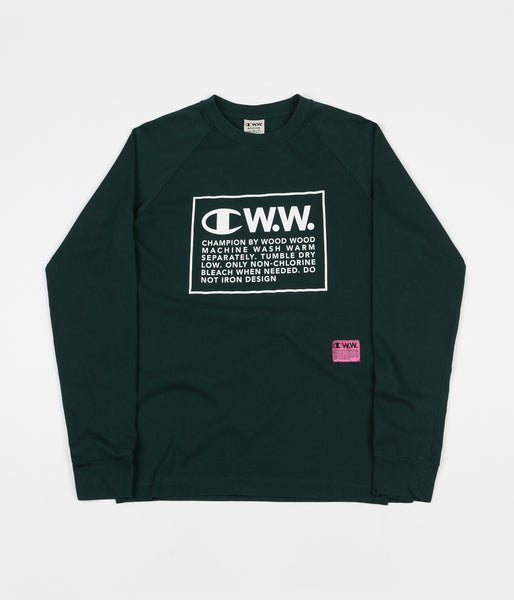 96df566e Champion x Wood Wood Rodney Box Logo Long Sleeve T-Shirt - Green / Whi |  Flatspot