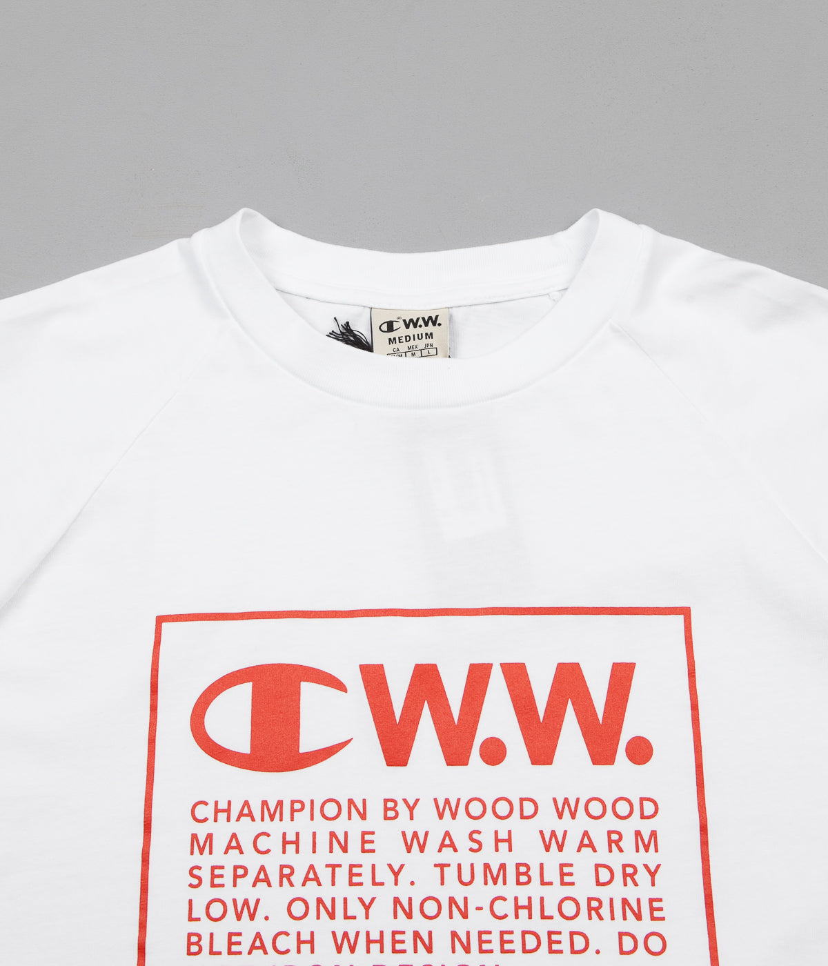 Champion x Wood Wood Rodney Box Logo Long Sleeve T-Shirt - White / Red