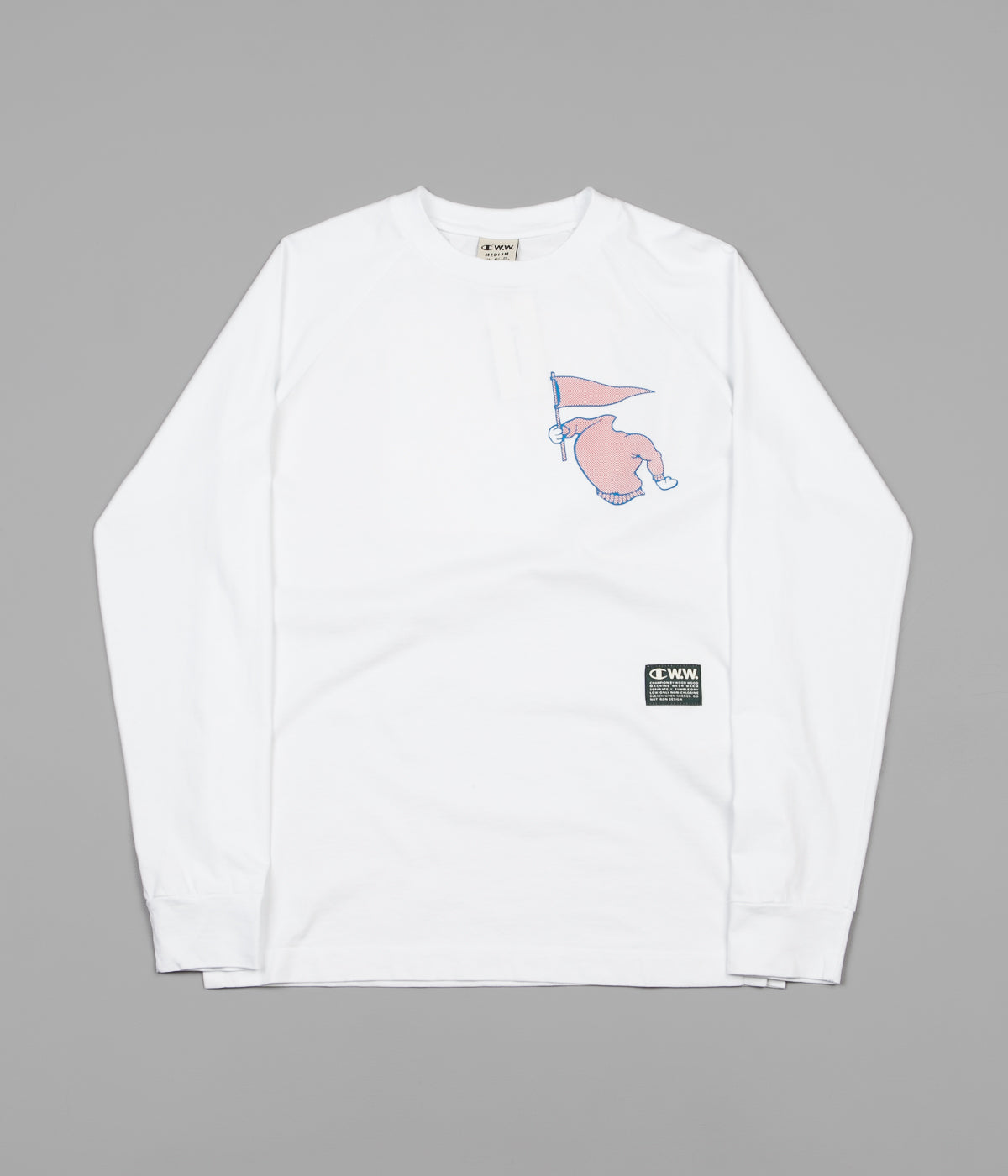 f72c5ce9 Champion x Wood Wood Rodney Long Sleeve T-Shirt - White | Flatspot