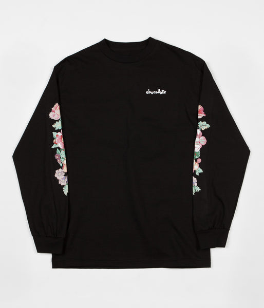 Chocolate Floral Chunk Long Sleeve T-Shirt - Black