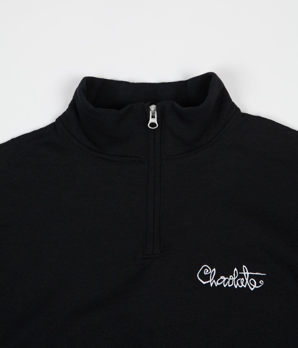 Chocolate Script 1/4 Zip Fleece Sweatshirt - Black