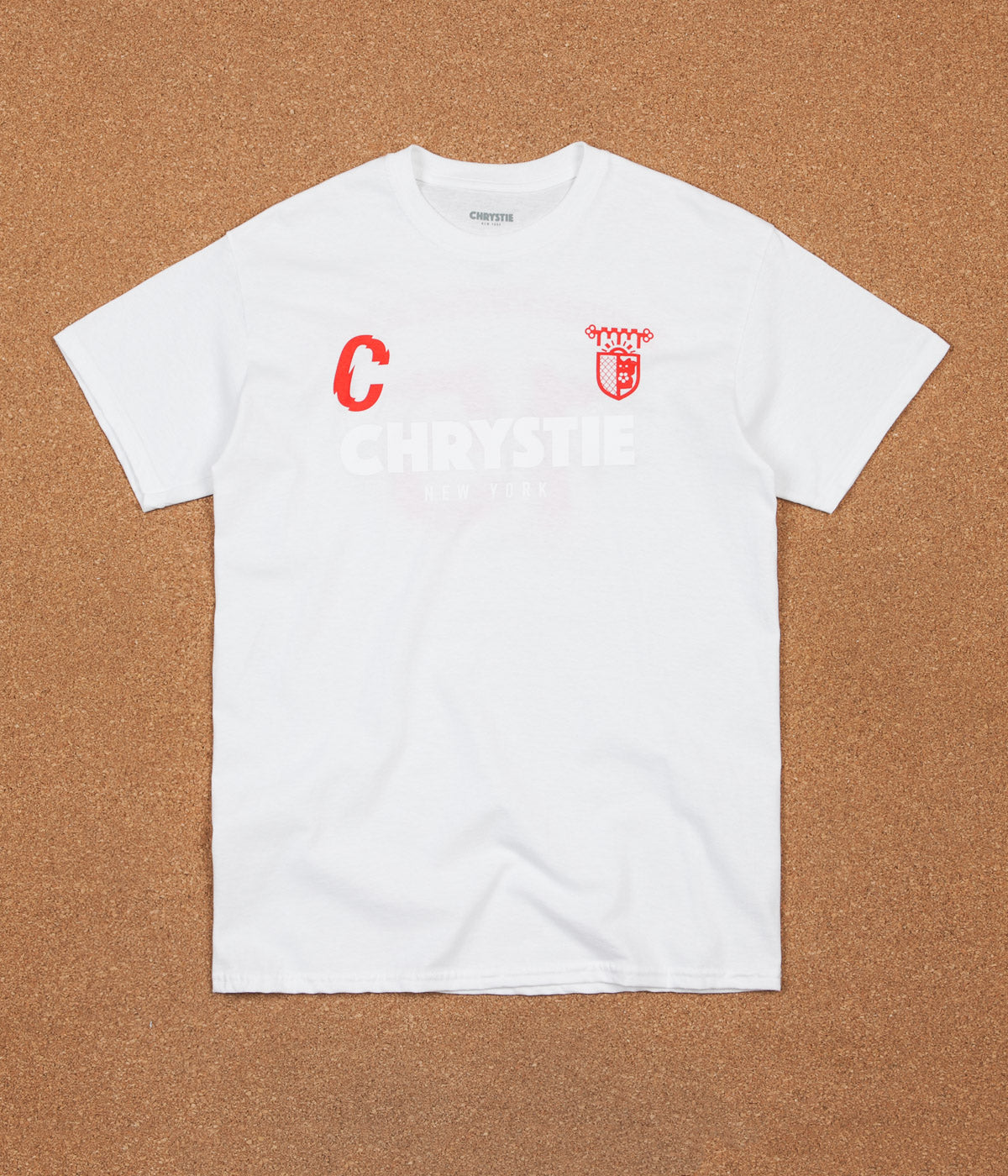 Chrystie NYC x Chinatown Soccer Club T-Shirt - White / Red