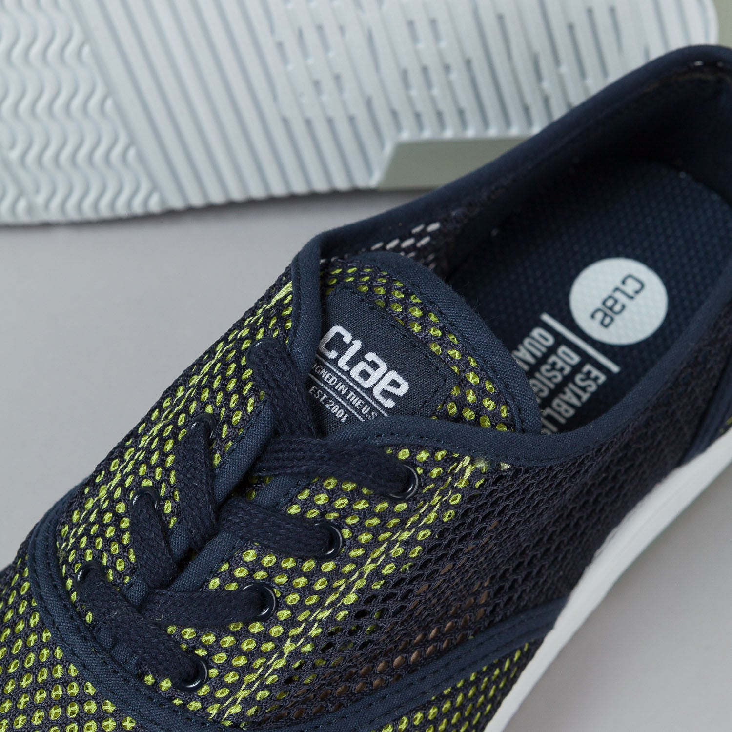 Clae Bruce Shoes - Deep Navy / Lime