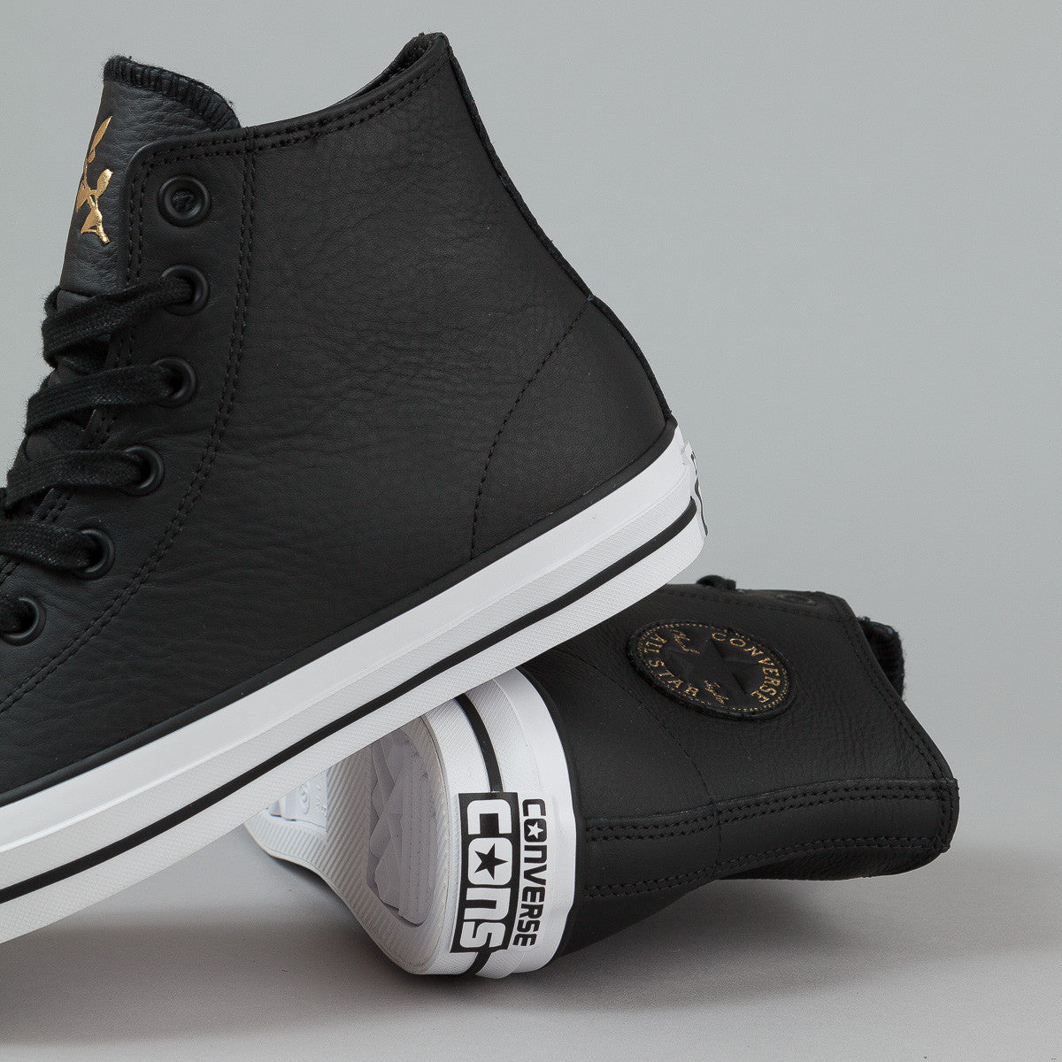 Converse CTAS Pro HI Shoes - Black / Rich Gold / White