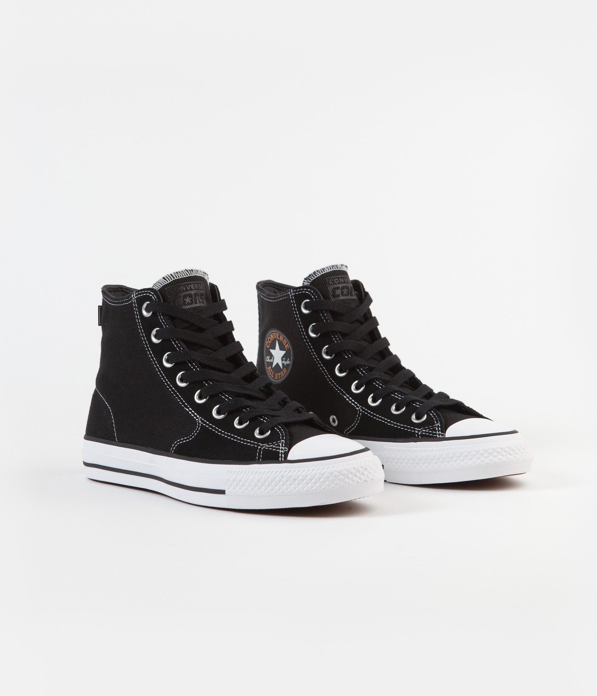 Converse CTAS Pro Hi Workwear Twill Shoes - Black / Orange Rind / White