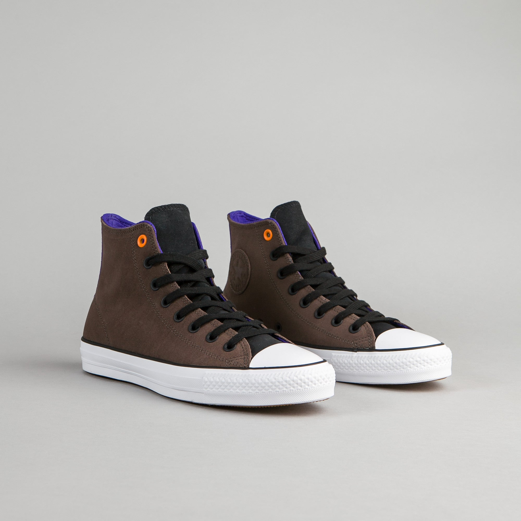 Converse CTAS Pro Leather Hi Shoes - Dark Chocolate / Black / Grape