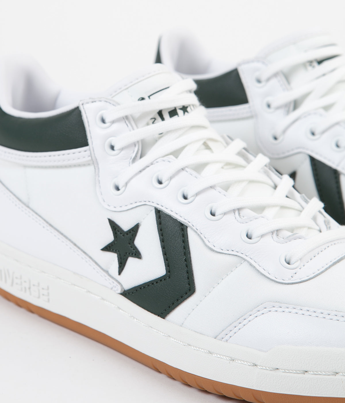 Converse Fastbreak Pro Mid Leather OG Block Shoes - White / Deep Emerald / Gum