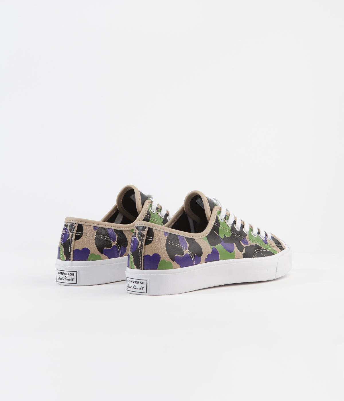 Converse Jack Purcell Ox Archive Prints Leather Shoes - Black / Candied Ginger / Court Purple